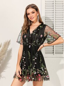Embroidery Mesh Ruffle Hem Dress