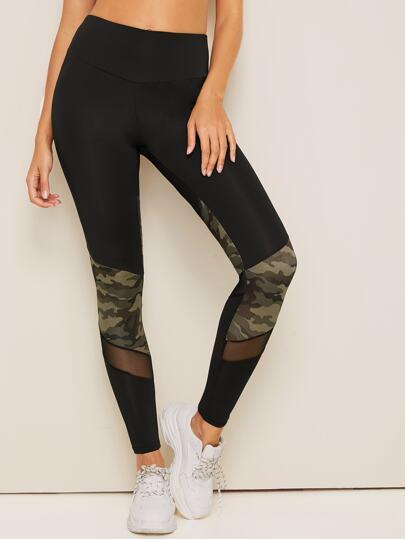 3aaed4ed1aaae4 Contrast Mesh Camo Panel Skinny Leggings