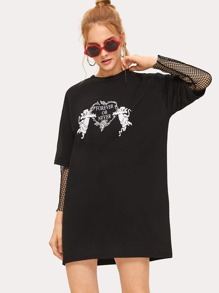 Letter And Angel Print T-shirt Dress
