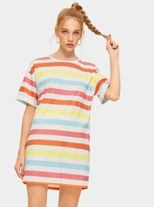 Colorful Striped Print T-shirt Dress