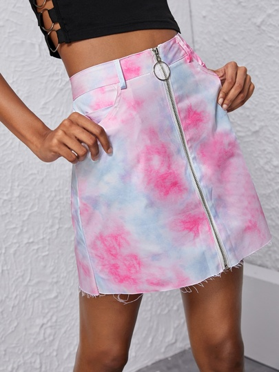 O-ring Zip Up Tie Dye Skirt
