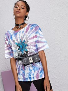 Letter And Abstract Sun Print Tie Dye Tee