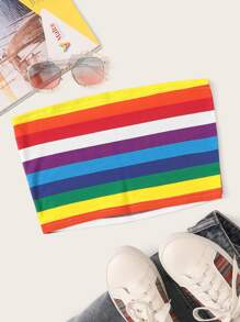 Rainbow Striped Tube Top