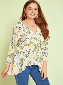Plus Floral Print Surplice Neck Peplum Blouse