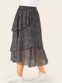 Plus Speckled Print Tiered Layer Ruffle Hem Skirt