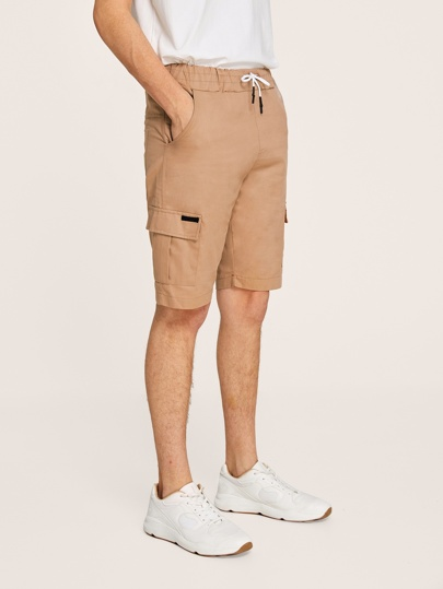 Guys Side Pocket Drawstring Waist Cargo Shorts