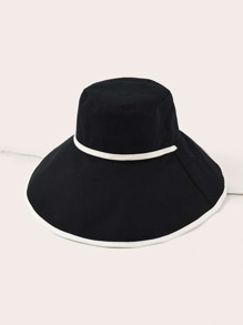 Two Tone Drawstring Decor Bucket Hat