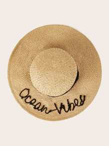 Letter & Band Decor Floppy Hat