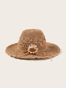 Flower & Bow Knot Decor Floppy Hat