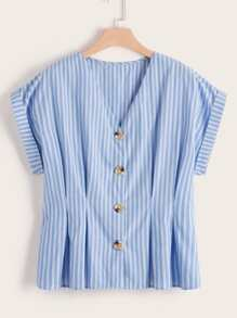 Plus Striped Plicated Button Front Blouse