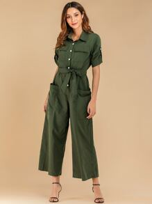 Army Green Pocket Patched Belted Jumpsuit