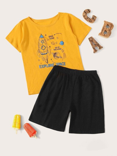 Boys Rocket Print Pajama Set