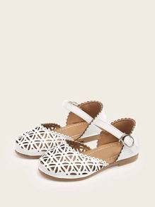 Girls Scalloped Trim Hollow Out Sandals
