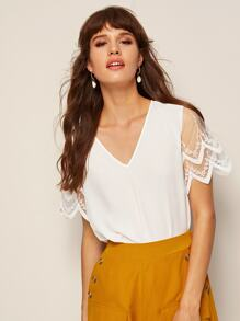 V Neck Embroidered Mesh Sleeve Top