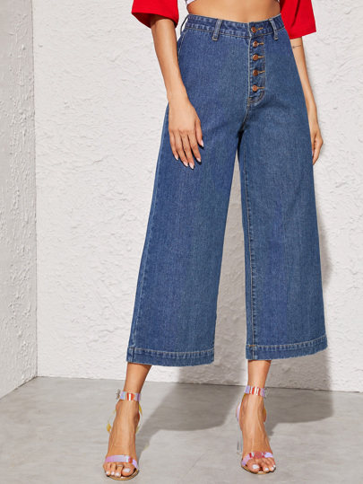 Button Fly Crop Wide Leg Jeans