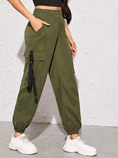 Push Buckle Flap Pocket Cargo Pants