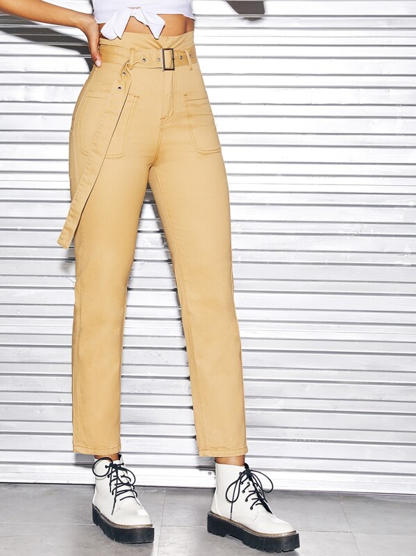 75f6435fb2 Adjustable Belted Straight Leg Jeans