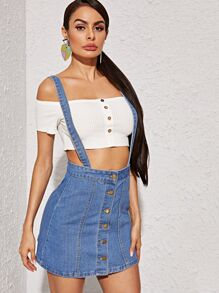 Button Front Criss-cross Dungaree Skirt
