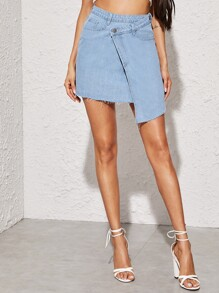 Raw Hem Asymmetrical Wrap Denim Skirt