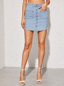 Button Front Raw Hem Denim Skirt