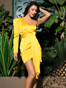 LOVE&LEMONADE One Shoulder Tie Front Draped Satin Wrap Dress