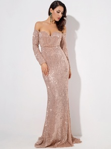 LOVE&LEMONADE Off Shoulder Sweetheart Neck Sequin Maxi Dress