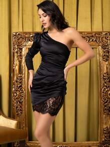 LOVE&LEMONADE One Shoulder Lace Insert Satin Mini Dress