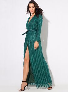 LOVE&LEMONADE Wrap Belted Sequin Maxi Dress