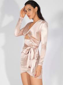 LOVE&LEMONADE Asymmetrical Hem Twist Front Belted Satin Dress