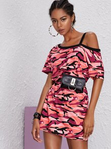 Camo Print Asymmetrical Neck Dress