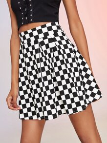 Check Plaid Zip Back Skirt