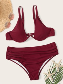 Plus Underwire Top With Ruched Bikini Set