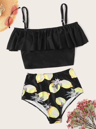 600783db46 Flounce Top With Lemon Print Tankini Set