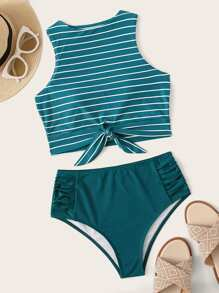 Striped Knot Hem Top With Ruched Bikini Set