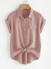 Roll Sleeve Button Front Blouse