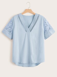 Plus Lace Panel High Low Blouse