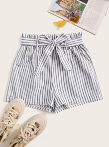 Frill Waist Belted Stripe Shorts