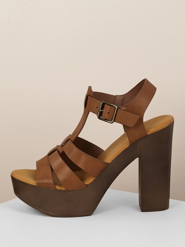 9a03a4b419a Buckled Ankle Wood Platform Chunky Heel Sandals