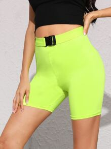 Neon Lime Skinny Cycling Shorts