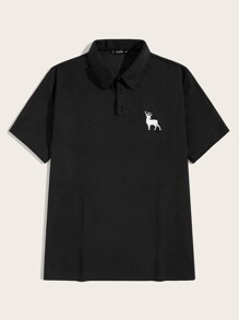Men Deer Print Polo Shirt