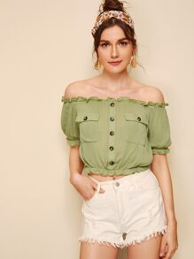 Bardot Frill Trim Flap Pocket Crop Blouse