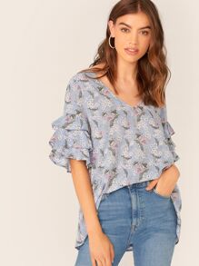 Botanical Print Layered Sleeve Dip Hem Top