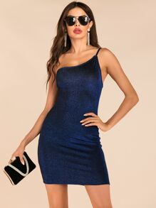 Sparkle Glitter One Shoulder Dress