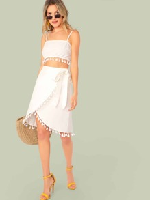 Tassel Trim Cami Crop Top & Wrap Knot Skirt Set