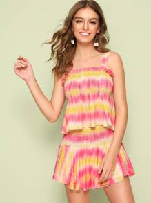 Tie Dye Shirred Detail Peplum Top & Skort Set