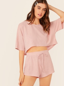 Solid Drop Shoulder Rib-knit Top & Shorts Set