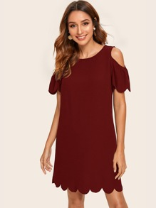 Cold Shoulder Scallop Edge Solid Dress