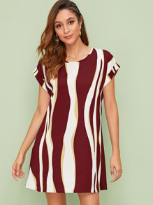 Colorblock Wave Striped Tunic Dress