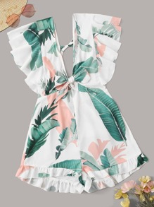 Tropical Print Ruffle Armhole Tie Front Romper