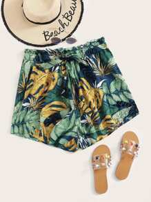 Plus Paperbag Waist Self Belted Tropical Shorts